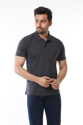 MOUDLIN Solid Men Polo Neck Grey T-Shirt