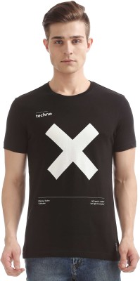 Flying Machine Printed Men Round Neck Black T-Shirt