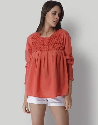 Vero Moda Casual Full Sleeve Solid Women Red Top