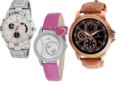 ADIXION 9519SM03\\9408SL06\\9507WL01 Tri Combo Leady & Gents Analog Watch Watch  - For Men & Women