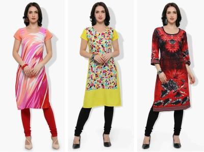 Envy9 Casual Printed Women Kurti(Pack of 3, Black, Pink, Red)