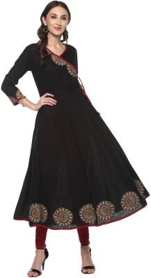 Yash Gallery Festive & Party Embellished Women Kurti(Black)