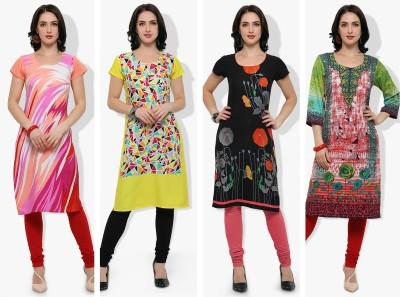 Envy 9 Casual Printed Women Kurti(Pack of 4, Multicolor)