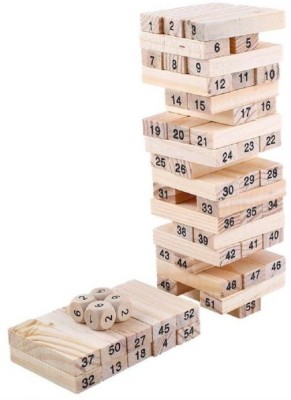 Civil 51 Wooden Building blocks with 3 Wooden dice Jenga Learning Game for Kids (Multicolor)(51 Pieces) at flipkart