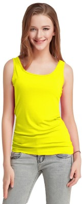 Fashion Line Casual Sleeveless Solid Women Yellow Top