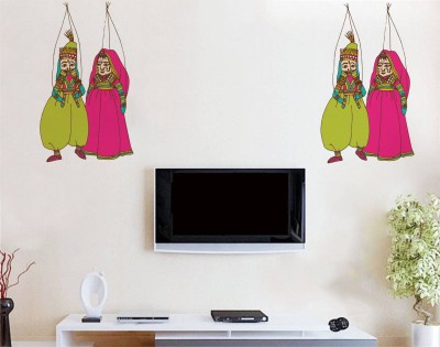 Rawpockets Decals ' Puppet Dance couple Dolls ' Large Size Wall Sticker ( Wall Coverage Area - Height 55 cms X Width 60 cms)(Pack of 1 )(Multicolor)