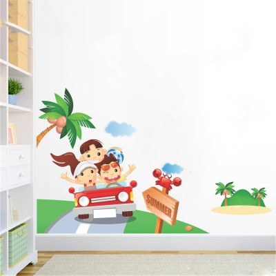Rawpockets Decals ' Summer Tour with kids ' Large Size Wall Sticker ( Wall Coverage Area - Height 60 cms X Width 95 cms)(Pack of 1 )(Multicolor)