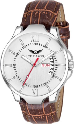 b846e9592 Lois Caron LCS-8061 WHITE DIAL   CROCO STRAP DAY AND DATE FUNCTIONING Watch  -