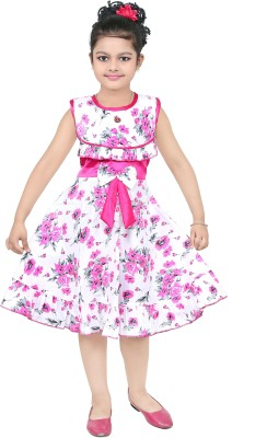 N BAHUBALI Girls Midi/Knee Length Casual Dress(Pink, Sleeveless)