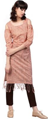 Aks Women Striped Straight Kurta(Orange)