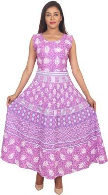 VAIDIKI Casual Floral Print Women Kurti(Pink, White)