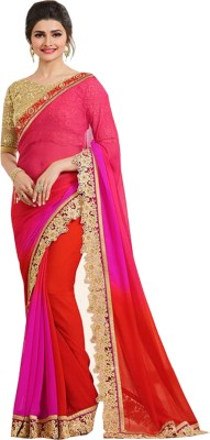Maruti Creation Embroidered Daily Wear Georgette Saree(Pink)