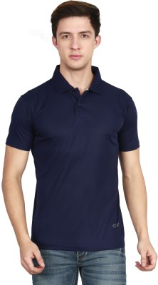 AWG Solid Men Polo Neck Dark Blue T-Shirt