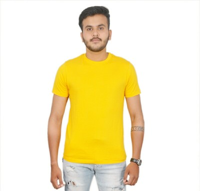 AMBAZ Solid Men's Round Neck Yellow T-Shirt