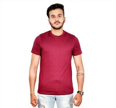 AMBAZ Solid Men's Round Neck Red T-Shirt