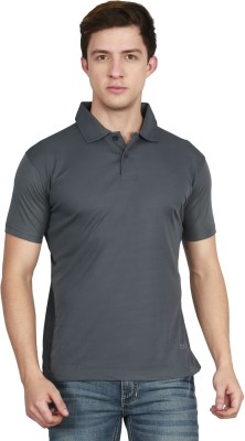 AWG Solid Men Polo Neck Grey T-Shirt