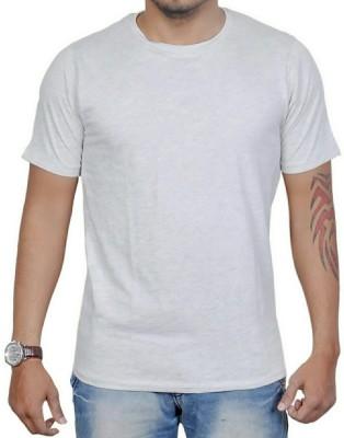 AMBAZ Solid Men's Round Neck Grey T-Shirt
