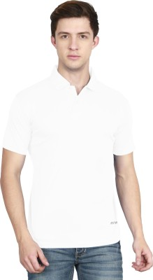AWG Solid Men Polo Neck White T-Shirt