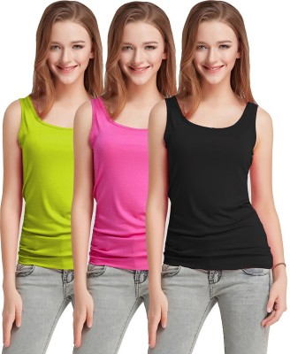 Fashion Line Casual No Sleeve Solid Women Light Green, Pink, Black Top