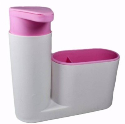 ZEVORA sink tidy sat Brush holder Liquid dispenser .2 L Gel, Lotion, Foam, Conditioner, Soap, Shampoo Dispenser (Pink, White) Washing Machine Soap Dispenser