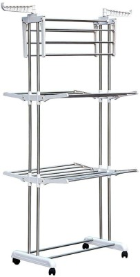 FAVOUR Folding 3 Layer Cloths Drying Rack Clothes Stand Stainless Steel Floor Cloth Dryer Stand(White)