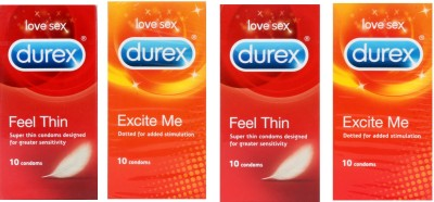 Durex LOVE SEX FEEL THIN DOTTED SET OF 4 Condom(Set of 4, 40S)