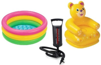 Flying Toyszer 2ft Baby Pool, Teddy Kiddie chair with Air Pump Inflatable Pool Accessory(Multicolor)