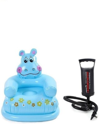 Flying Toyszer Hippo Kiiddie Chair With Air Pump Inflatable Pool Accessory(Multicolor)
