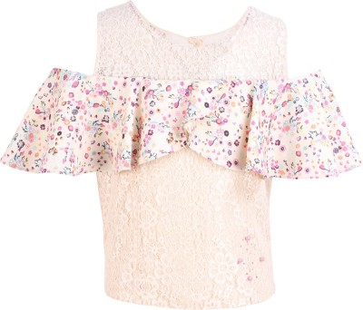 Cutecumber Baby Girls Party Lace Ruffled Top(Multicolor, Pack of 1) Flipkart
