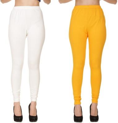 Diaz Churidar  Legging(White, Yellow, Solid)