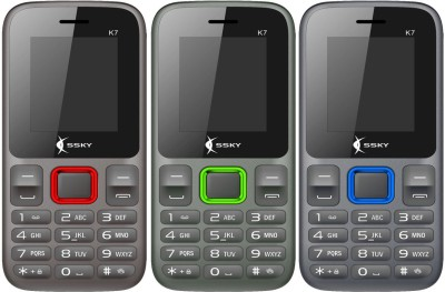 Ssky K7 Combo of Three Mobiles(Black, Black, Black)