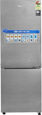 Haier 256 l Frost Free Double Door Bottom Mount 3 Star Refrigerator(Brushline silver/Dazzel Steel, HEB-25TDS)