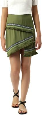 Dressberry Self Design Women A-line Green Skirt