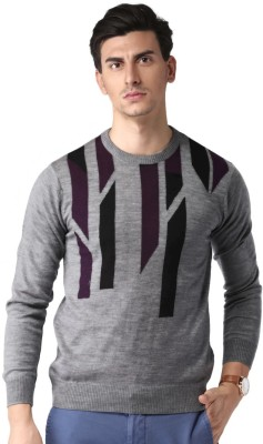 Invictus Striped Round Neck Casual Men Grey Sweater at flipkart