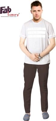 FABLUXURY Printed Men's Round Neck White T-Shirt