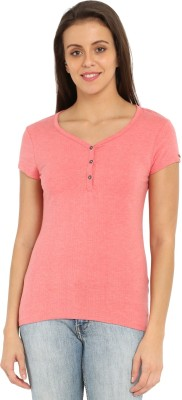 Jockey Solid Women Henley Pink T-Shirt