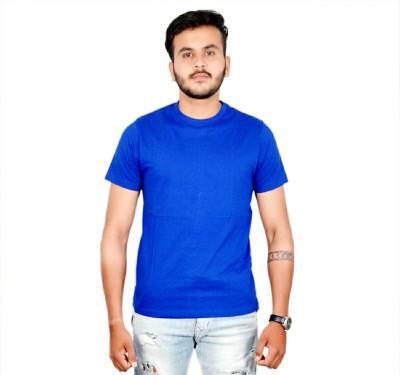 AMBAZ Solid Men's Round Neck Blue T-Shirt