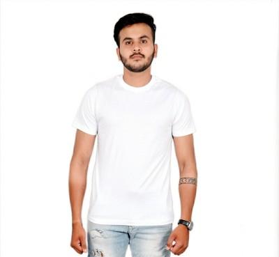AMBAZ Solid Men's Round Neck White T-Shirt