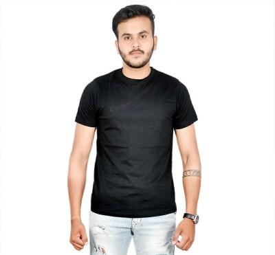 AMBAZ Solid Men's Round Neck Black T-Shirt