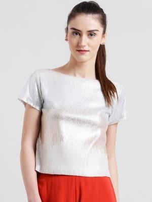 Zink London Party Short Sleeve Solid, Embellished Women