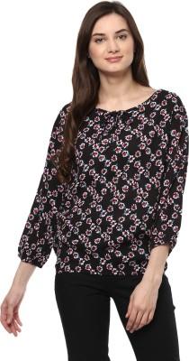 Mayra Casual 3/4 Sleeve Floral Print Women Black Top