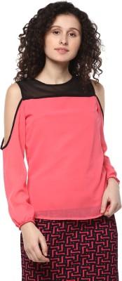 MAYRA Casual Full Sleeve Solid Women Pink, Black Top MAYRA Women's Tops