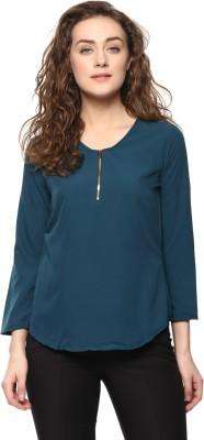 MAYRA Casual 3/4 Sleeve Solid Women Dark Green Top MAYRA Women's Tops