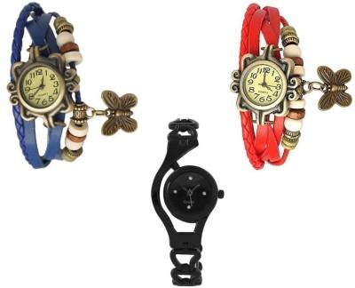 Freny Exim beautiful stylish attractive rakhi collection vintage blue red dori combo watch pink black pu belt women watch Bracelet watches Watch  - For Girls