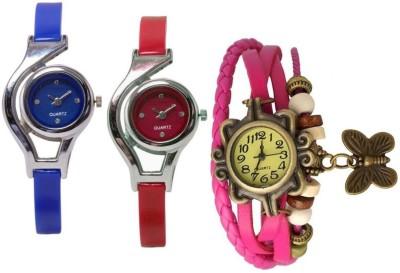 Freny Exim beautiful stylish attractive rakhi collection vintage pink dori combo watch blue red pu belt women watch Bracelet watches Analog Watch  - For Girls
