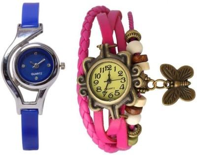 Freny Exim beautiful stylish attractive rakhi collection vintage pink dori combo watch blue belt women watch Bracelet watches Analog Watch  - For Girls