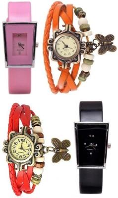 Freny Exim beautiful stylish attractive rakhi collection vintage red orange dori combo watch pink black pu belt women watch Bracelet watches Watch  - For Girls