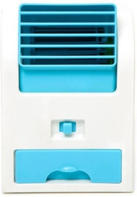 Akshat Mini Air Conditioner Shaped Perfume Turbine USB Fan Air Cooler Table Fan(BLUE, WHITE)  available at flipkart for Rs.299