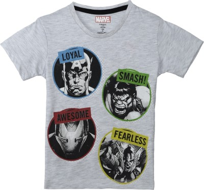 Avenger Boys Graphic Print Cotton Polyester Blend T Shirt(Grey, Pack of 1)