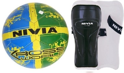 Nivia Combo of two- One 'Kross World' Football (Size-5) and one Pair of 'Classic' Shin Guard (Color on availability)- Football Kit  available at flipkart for Rs.790